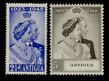 ANTIGUA GVI SG112-113, ROYAL SILVER WEDDING set, LH MINT. Cat £16.