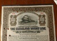 $1000 CLEVELAND SHORT LINE RAILWAY 1911 50yr. Gold Bond AMERICAN Banknote Train