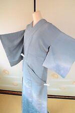 Kimono Tsukesage Silk Blue/Wave pattern One crest/Vintage Japanese Geisha Party