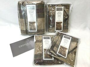 CROSCILL Townhouse Drapery & Ascot Valance SET Pole Top Curtains Panels Red Gold