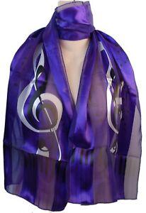 NEW! Silk Feel Scarf - Music G Clef & Piano Keyboard Black on Purple!