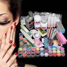 42 Acrylic Powder Liquid Nail Art Care kit UV Gel Glitter Brush Clipper Tips FT