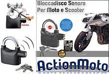 ANTIFURTO SONORO MOTO SCOOTER LUCCHETTO BLOCCADISCO ALLARME IMPERMEABILE 110dBa