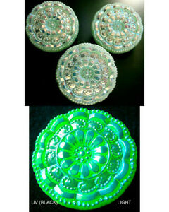 """3 Czech VASELINE Glass LACY Buttons #B600 - 27 mm or 1"""" - IRIDESCENT!!!!!!!!!!!!"""