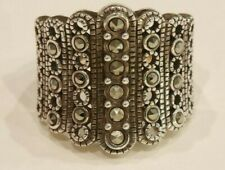 """Unique Sz 6 Rhodium over Sterling Silver Marcasite Beaded Ring 3/4"""" Height-New"""