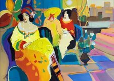 Acrylic on Canvas Original Art Painting by Isaac Maimon Women at a Cafe