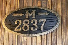 Address Sign Antique Brass Finish Large Oval Custom Carved  Monogram Wood Plaque