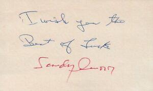 Sandy Amoros 1952 Brooklyn Dodgers Signed 3x5 Index Card with JSA COA