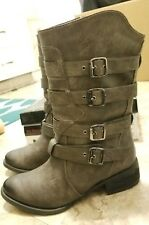 NOT RATED WOMEN'S SIZE 6 ON FLEEK TAUPE BUCKLES AND STRAPS BOOTIES BOOTS SHOES