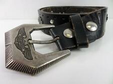 """Mens Harley Davidson Leather Metal Studded Belt Black/Silver 31"""" GRADE B BA256"""