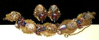 Rare Vintage Signed Florenza Dragons Breath Rhinestone Bracelet & Earring Set A1