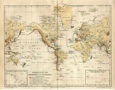 1886 WORLD TSUNAMI and EARTHQUAKES ZONES Antique Map