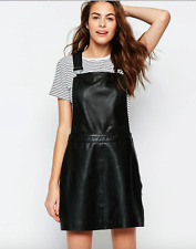 MUUBAA BLACK LEATHER KINVER OVERALL SKIRT SKIRTALL JUMPER DRESS US 6 / UK 10 / S
