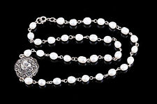 THAILAND STERLING HEMATITE STONES FLOWER BLOSSOM PENDANT PEARL NECKLACE 925 0816