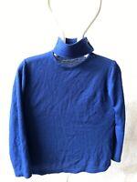 Emilio Pucci Vintage Sweater Maglia 100% Lana Vergine Tg 46 Blu Donna