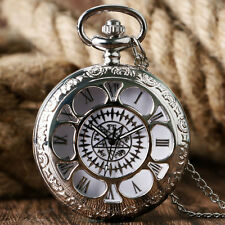 Anime Butler Kuroshitsuji Silver Quartz Pocket Watch Chain Necklace Boy Men Gift