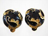 Vintage Maresco Goldtone Black Enamel Clip On Earrings Metal Swirl Designer
