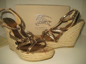 $425 NEW Burberry US 10.5 EU 41 Gold Haymarket Espadrille Wedges Sandals Shoes