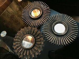 SET OF 3 MOROCCAN SUNBURST WALL MIRRORS IN DISTRESSED GOLD DECOR ART COPPER NEW
