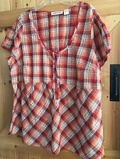 "Taillissime La Resolute Size 26 Orange Red Check Top Chest 50"" Button Front."