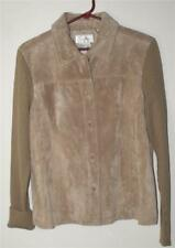 LIVE A LITTLE WOMEN'S/MISSES SIZE LARGE TAN SUEDE LEATHER JACKET W/KNIT SLEEVES