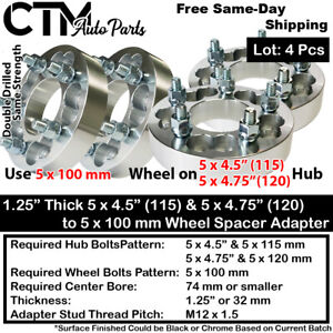"""4x 1.25"""" THICK 5x4.5(5x115) & 5x4.75(5x120) TO 5x100 WHEEL ADAPTER FIT DODGE/MOR"""