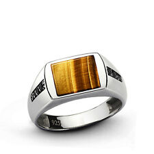 NATURAL TIGER'S EYE Mens Ring SOLID Sterling Silver Classic Style Ring all sz
