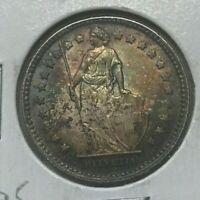 1911 Switzerland 1 One Franc - Toned Silver Uncirculated