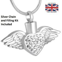Angel Wings Heart Cremation Urn Pendant Ashes Necklace Funeral Memorial - UK