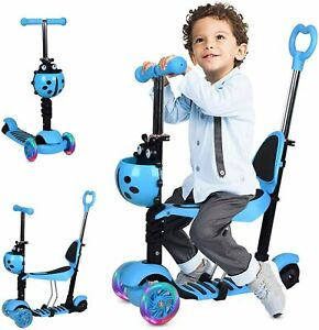 Kids 3 Wheel Push Scooter - Blue with Ladybird Basket - 6mths-4yrs - VGC RRP £45