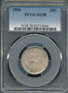 1856 Seated Liberty Quarter PCGS AU 58 *Plenty Of Mint Luster Visible!*
