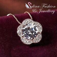 18K Rose Gold GP Made With Swarovski Element Stunning Studded Flower Necklace