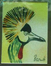 New Signed Handmade Sand Art Image of Uganda's Crested Crane Bird Matted 9x8