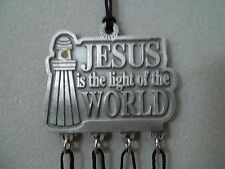 Jesus is the Light of the World Windchime With Crystal Stone, Pewter, Usa New