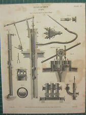 1815 DATED ANTIQUE PRINT ~ HYDRAULICS PUMPS JEKYLS SHIPS PUMPS MARTINS VARIOUS