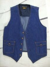 Lee Blue Denim Vintage Suit Vest 40R Fabric Improver Separate Lees USA 70s