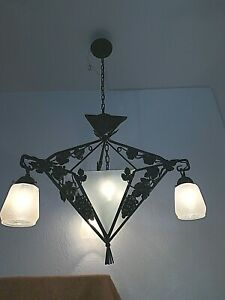 1930's French Art Deco Iron & Glass Hanging Fixture