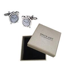 Mens Silver Retro Alram Clock Cufflinks & Gift Box - By Onyx Art