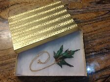 """Iridescent Copper Dipped Maple Leaf w/ Gold-tone 18"""" Chain Necklace & 🎁 box"""