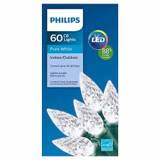 New Philips 60 ct Led C6 Faceted String Lights in Pure White 19.6 Ft