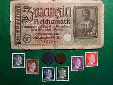 Germany Europe Invasion 6 Stamps, 1;10 Reichspfennig coins & 20 Reichsmark