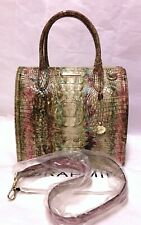 BRAHMIN Melbourne CAROLINE Leather Lg Satchel Bag AMETHYST Brown Pink Teal NWT