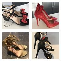 BNWT Primark Minnie mouse Disney Black Glitter High Heels Red Gold Bow Shoes