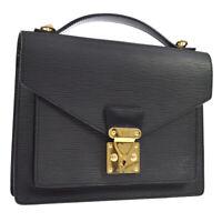 LOUIS VUITTON MONCEAU 2WAY HAND BAG SATCHEL BLACK EPI M52122 AK37961g