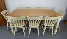 Brand New Painted 7ft Farmhouse Dining Table & 8 Slat back Chairs in Cream