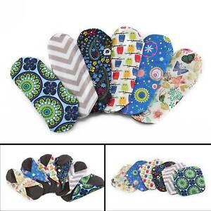 Reusable Washable Bamboo Cloth Eco Sanitary Towels 6pcs Menstrual Period Pads