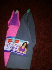 New nwt 2 size Small Cozy bra bra pink gray Hanes seamless pullover comfy
