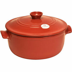 Emile Henry Ceramic 24cm Round Casserole Cocotte in Red Brick 324540