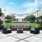7pc Furniture Patio Rattan Wicker Outdoor Sectional Sofa Chair Set Garden Table