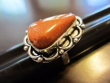 925 Sterling Silver Signed Sparkle Terracotta Stone - Glass Ring Size 7,5 - 6 g.